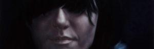 galerie kunstunderos, Ainara Torrano, Frau mit Perücke auf Leder, Öl auf leinwand